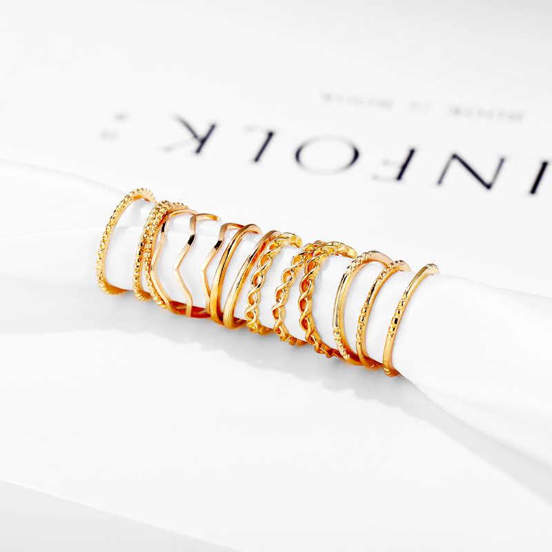 14 ชิ้น/เซ็ต Cross รูปแบบ Minimalism Vintage แฟชั่นโลหะนิ้วมือชุดแหวนผู้หญิงแหวนเครื่องประดับงานแต่งงาน