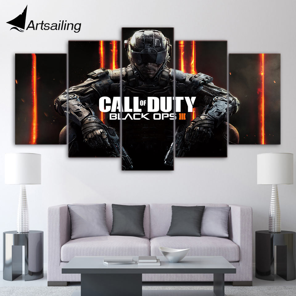 5 piece canvas art HD print call of duty Black Ops 3 game poster decor paintings for living room wall free shipping UP-2099B