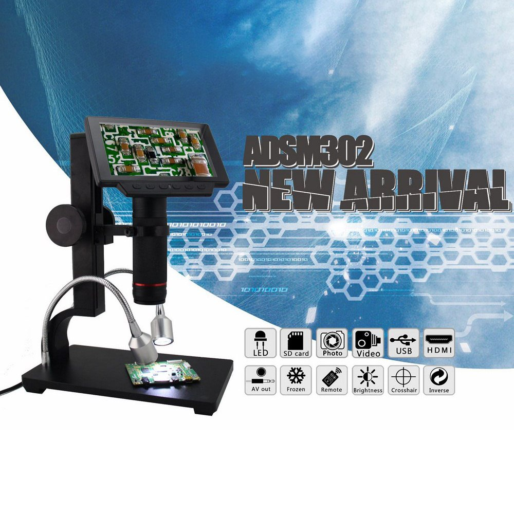 ADSM302 Digital Microscopes Electronic USB 1080P Full HD Video Microscope 5 inch Industrial Camera Magnifier Remote