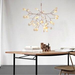 Image 3 - IKVVT złoty wisiorek led Lights metalowa akrylowa gałąź drzewa kształt światło wewnętrzne oprawy restauracja lampa żyrandol do salonu