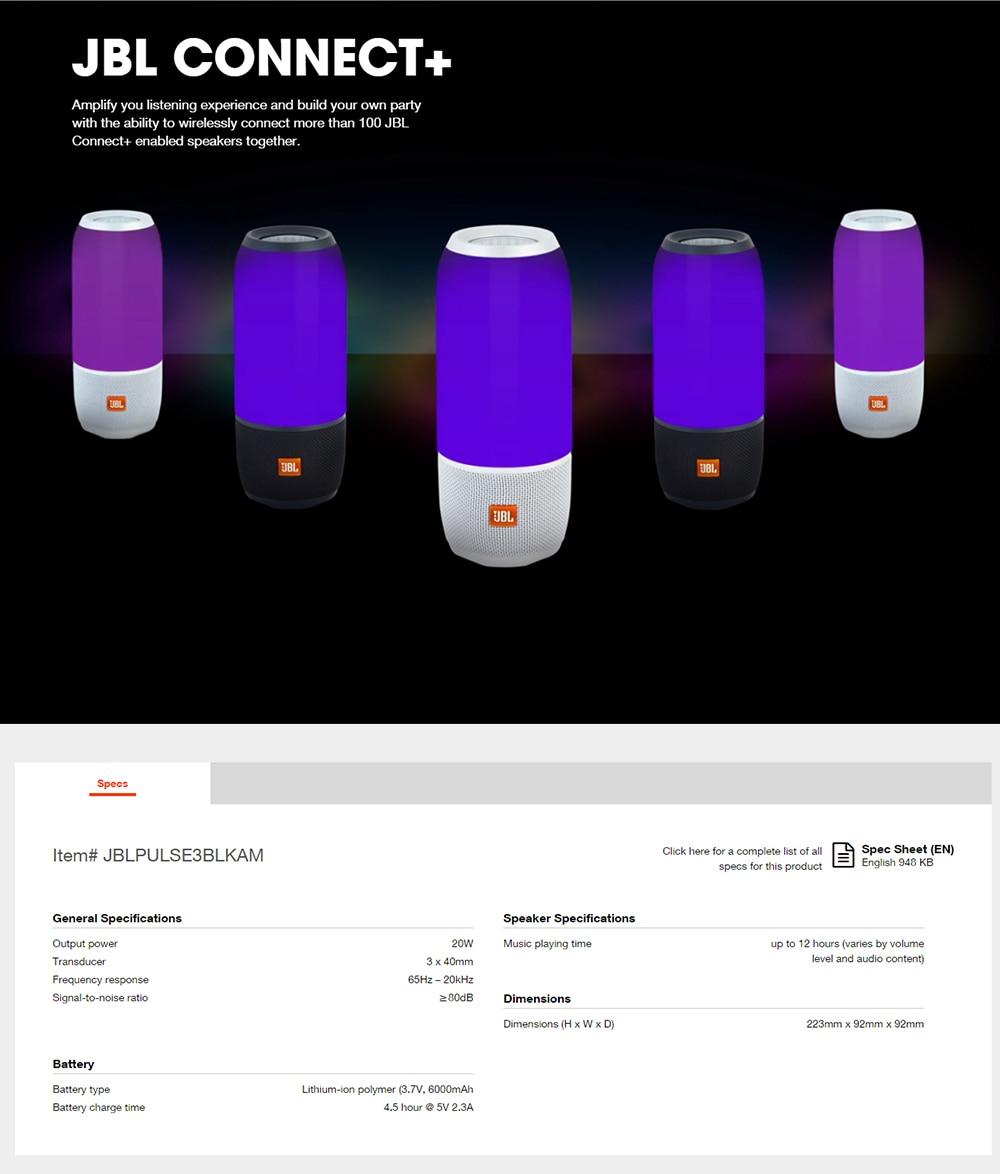 JBL Pulse3 Music Pulse 3 Colorful Bluetooth Small Audio Portable Speaker Waterproof