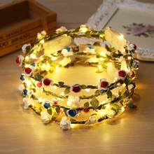 JOCESTYLE Floral Crown Headband LED Light Charm Garland Handmade Cute Headpiece Sweet Wedding Party Ornament Wreath Girl(China)