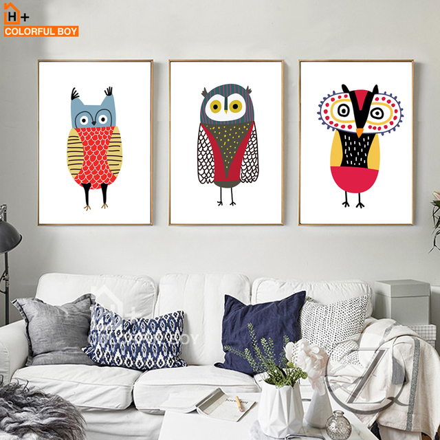 COLORFULBOY Minimalism Modern Abstract Animals Owl Wall Pictures For Kids  Room Canvas Painting Wall Art Posters