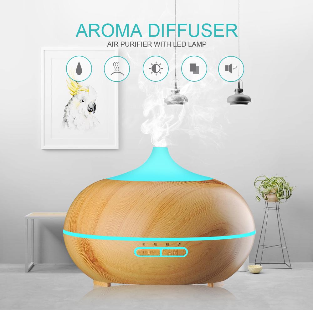 Diffuseur d'huiles essentielles KBAYBO design bois et LED mise en situation
