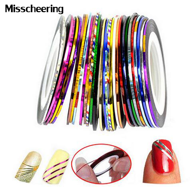 3d Nail Stickers.20pcs/lot Gold Silver Metallic Mixed Colors Rolls Nail Striping Tape Line,DIY UV Gel Tips Nail Decoraion Tools