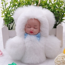 Fashion Faux Rex Rabbit Fur Pompom Sleeping Baby Toy Key Chain Ring Woman Bag Charms Pom Pom Doll Keychain Party Gift Trinket цена