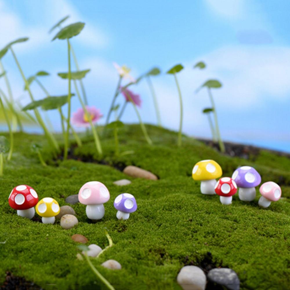 10PCS Fairy Garden Miniatures Mini Mushroom Garden Decoration Resin ...
