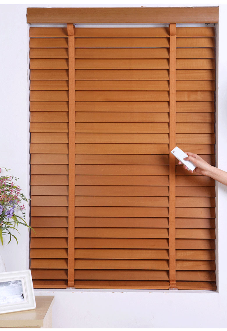Free shipping made to measure 5cm slats solid wood and for Motorized blinds shades