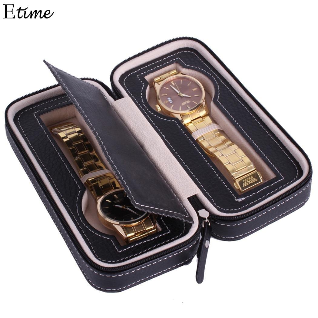 Watch Box 2 Grids PU leather Wrist Watch Box Display Jewelry Storage Organizer boite montrel Watch Case Caixa Para Relogio