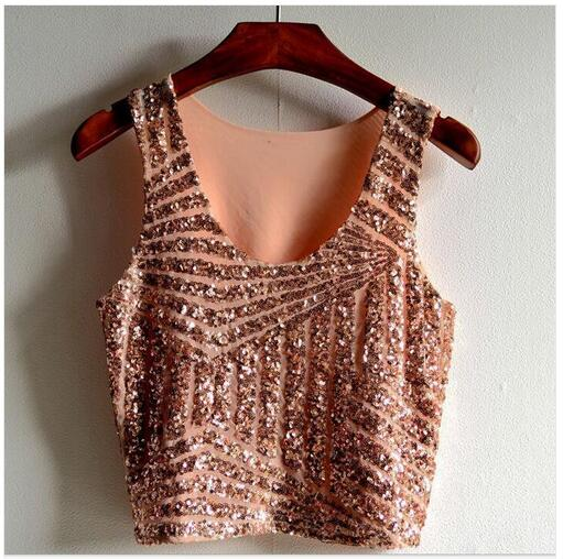 b4c67bf01beab4 New 2017 Summer Black White Gold Pink Sparkly Women Crop Top Tank Sexy Lady  Girls Sequin Lace Bustier Crop Top