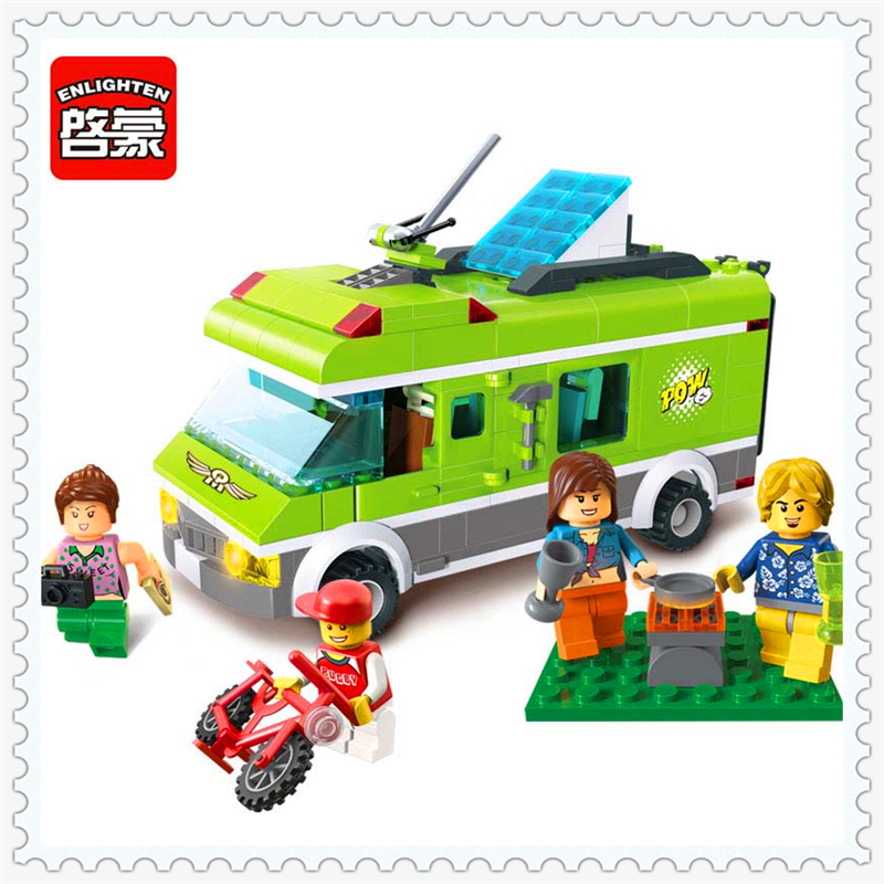 ENLIGHTEN 1120 City Happy Travel Car Camper Model Building Block Compatible Legoe 380Pcs Educational  Toys For Children lepin 24021 city creator 3 in 1 island adventures building block 379pcs diy educational toys for children compatible legoe