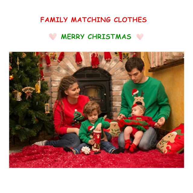 Winter Family Look Matching Clothes Cashmere Christmas Tree Clothing Romper Father Mother Daughter Son