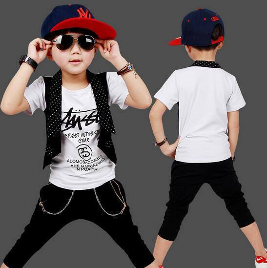 Fashion Kids Clothes Short Sleeve Boy's Fake Two-piece T-shirts Roupas Infantis Menina New Style Cotton Sports Suit For A Boy