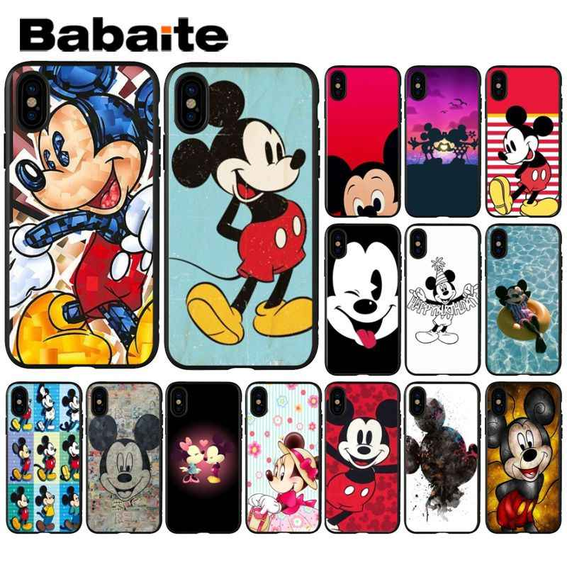 Babaite Cartoon Mickey Mouse Black TPU Soft Silicone Phone Case Cover for Apple iPhone 8 7 6 6S Plus X XS MAX 5 5S SE XR Cover