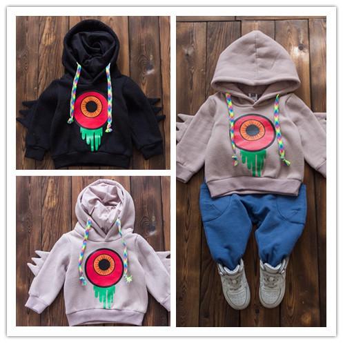 Atacado 2016 new Hot outono e inverno meninos e meninas do bebê com capuz Casaco Meninos dos desenhos animados impresso Roupas Streetwear