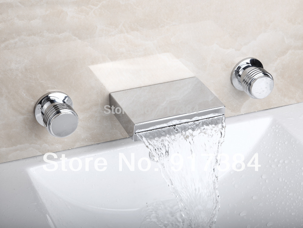 Waterfall  Ceramic  Double Handles Deck Mounted Bathroom Bathtub Basin Sink Mixer Tap 3 pcs Chrome Faucet Set FG-3122 flg free shipping 3 pcs tap waterfall bathroom basin sink bathtub mixer faucet chrome finish with strainer deck mounted taps 303