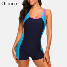 Charmo One Piece Women Sports Swimwear Swimsuit Colorblock Open Back Beach Wear Bathing Suits patch work fitness