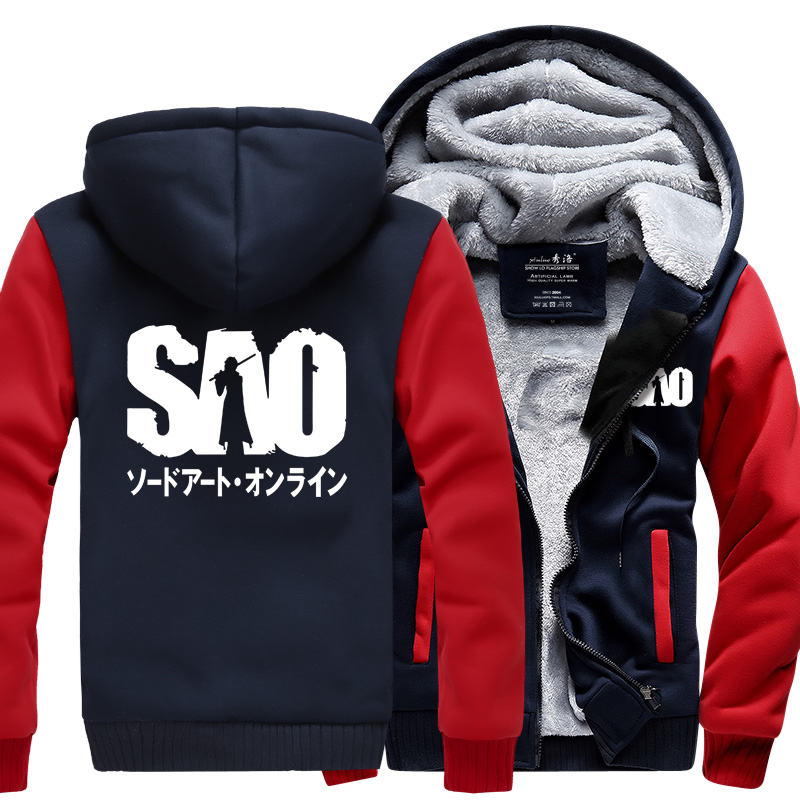 new fashion men hooded Anime Sword Art Online print male harajuku jacket 2019 autumn winter thicken fleece tracksuit streetwear in Hoodies amp Sweatshirts from Men 39 s Clothing