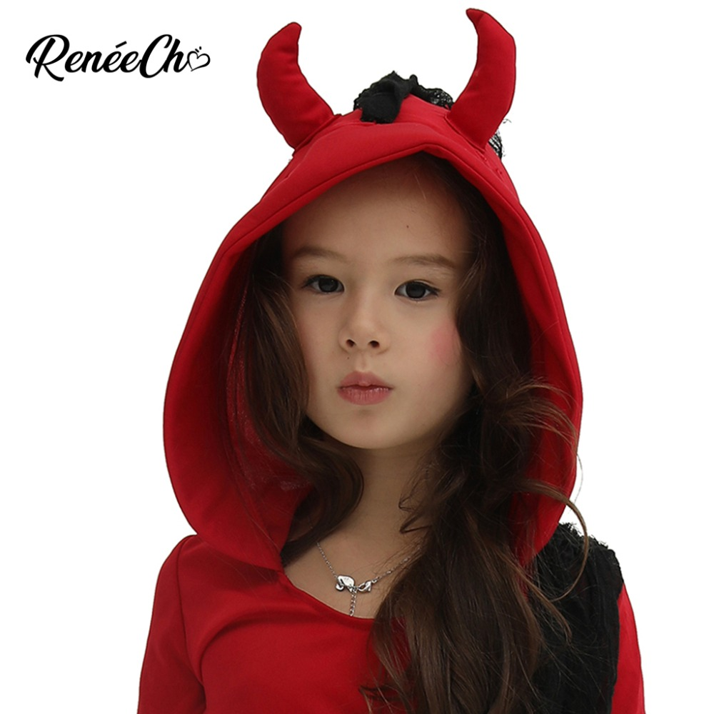 Image 4 - Halloween Costume For Kids 2018 Girls Devil Costume Demon Vampire Red Scary cosplay Clothing Iron Chain Print Dress Hooded-in Girls Costumes from Novelty & Special Use
