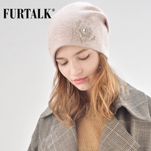 FURTALK Cashmere Wool Beanie Hat for Women Winter with Rhinestones Double Lining Warm Knit Rabbit Fur Hats Female
