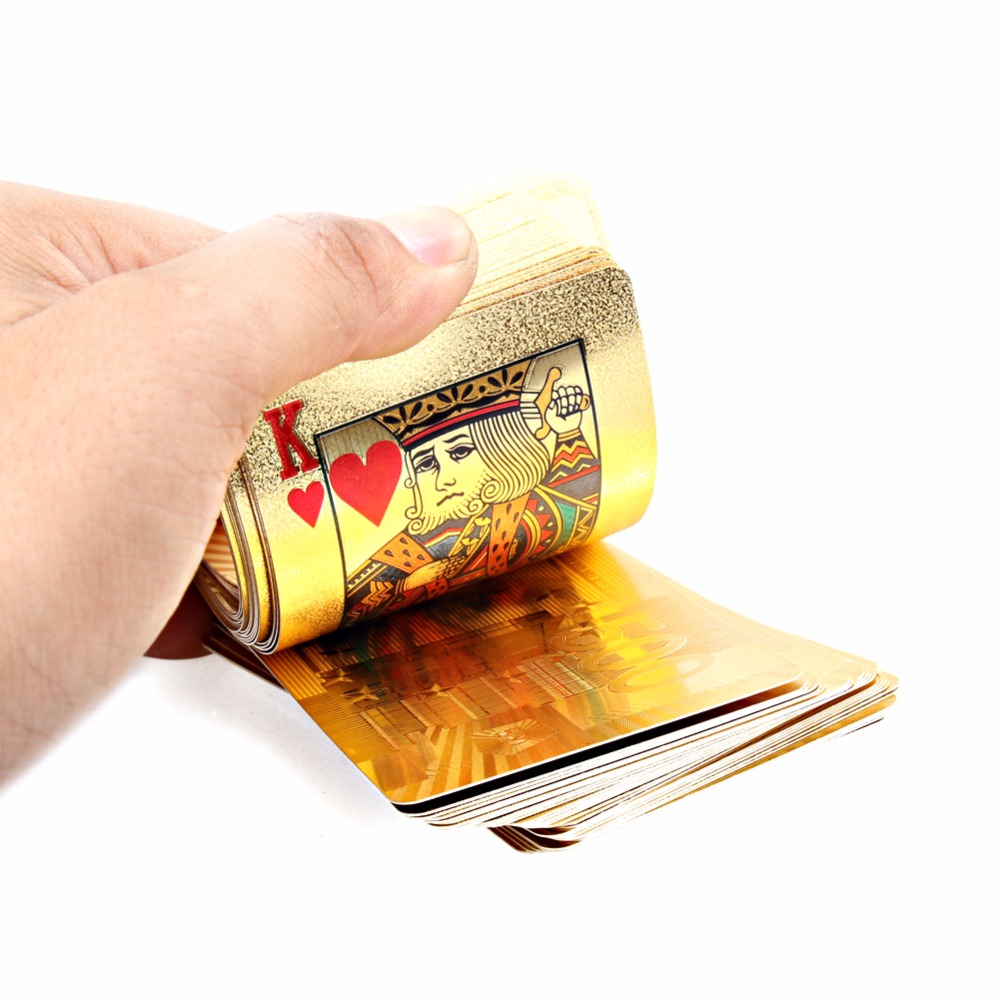 Gold Foil Playing Cards Texas Holdem Poker Gold Foil Plated Poker Card Funny High-grade Sports Leisure Gambling Pokerstars Gift