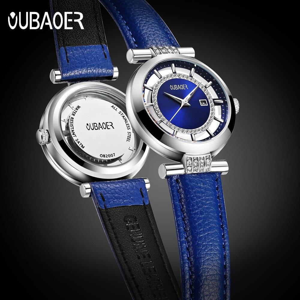 Women Watch OUBAOER Blue Rhinestone Luxury Brand Fashion Lady Quartz Watch Luxury Genuine Leather Wrist Watches Relogio Feminino