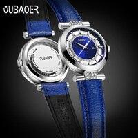 Women Watch OUBAOER Blue Rhinestone Luxury Brand Fashion Lady Quartz Watch Luxury Genuine Leather Wrist Watches