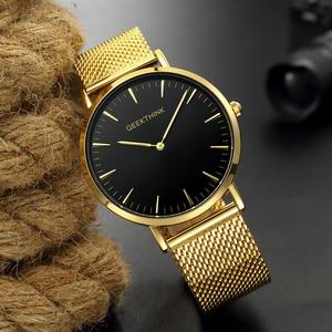 Image 4 - En lüks marka Quartz saat erkek gül altın japonya paslanmaz çelik tel örgü bant kol saati ultra ince saat erkek yeni ahşap yüz