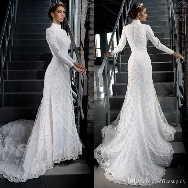 2017 high neck gorgeous modest white lace applique beading for Modest wedding dresses with long sleeves