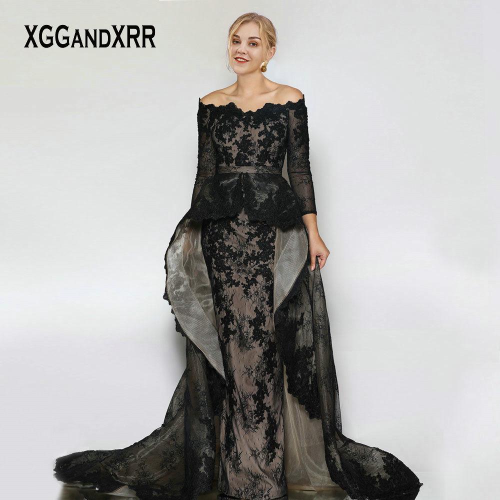 Elegant Boat Neck Long Sleeves Black Lace Prom Dresses ...