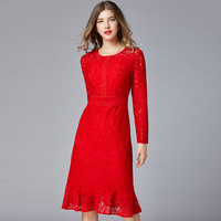 2019 high quality red mermaid lace dress plus size O neck long sleeves office Lady OL design elegant women trumpet lace dresses