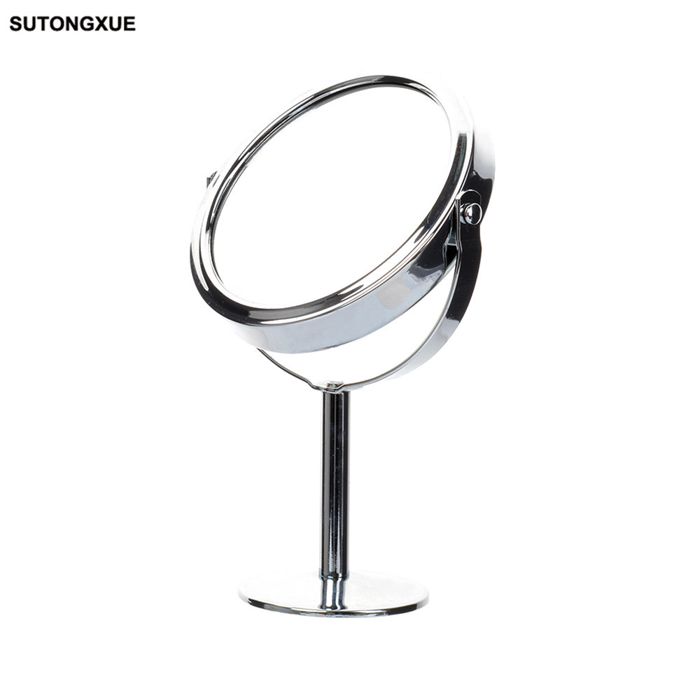 Silver Desk Type Double Side Cosmetic Makeup Mirrors with 1:2 Magnifying Function glass cosmetic mirror