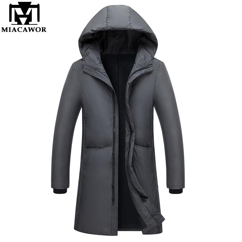 MIACAWOR New Winter   Down   Jacket Warm Parka Men Windproof Hooded Men   Down     Coats   Outerwear Men clothing J489