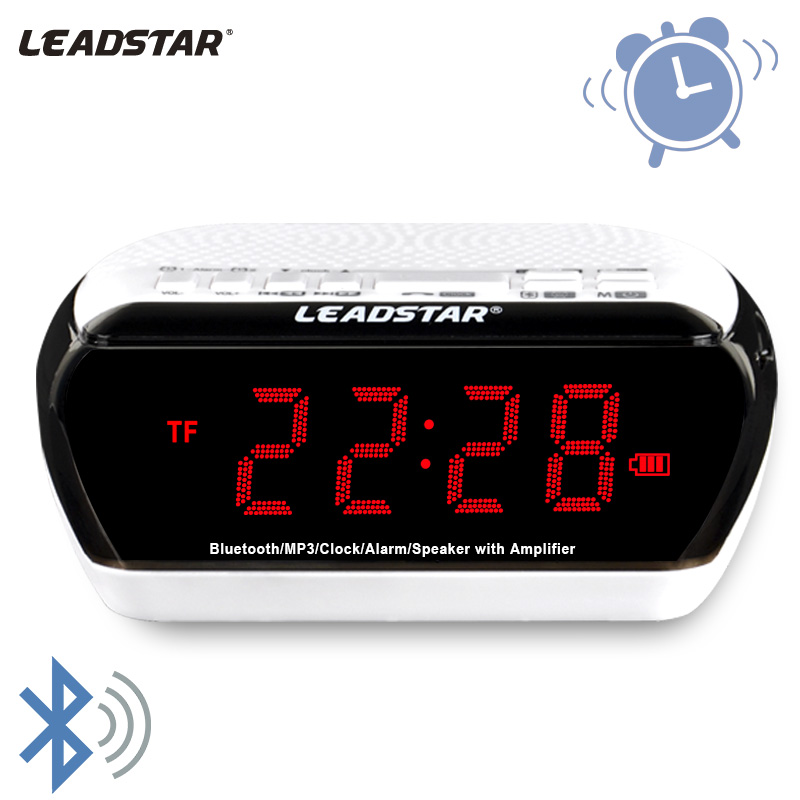 Leadstar, Wireless Mini Altavoz Bluetooth Portátil TF FM Radio Música Led DOBLE Reloj de Alarma Altavoz Para Tablet PC Teléfono Regalo