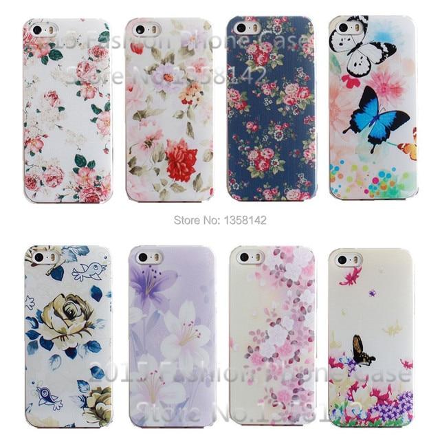 SSS-N N22 -Flower Design Painted Black Cover Case For Apple iPhone 5 5S SE Cases For iPhone5 Phone Shell--:& HHH- KKK 112 XX