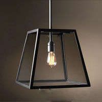 Free Shipping Vintage Pendant Light Industrial Edison Lamp American Style With Iron Glass Cage Coffee Bar