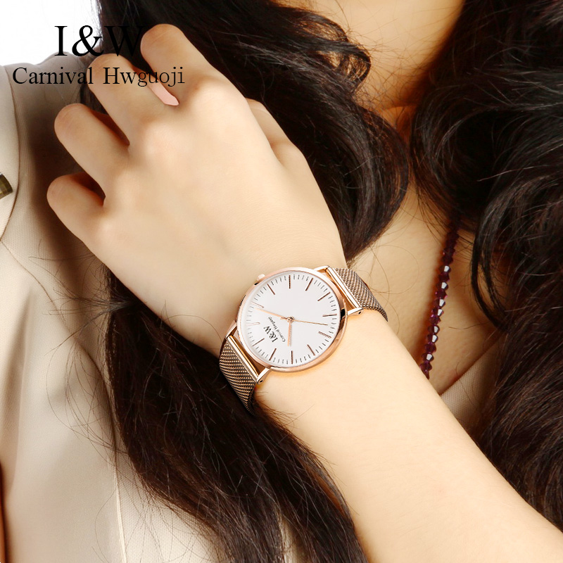 I&W Gold Quartz Watch Women Carnival Ladies Stainless Steel Ultra Thin Wristwatch Sapphire Crystal Clock 36mm reloj mujer 2018 I&W Gold Quartz Watch Women Carnival Ladies Stainless Steel Ultra Thin Wristwatch Sapphire Crystal Clock 36mm reloj mujer 2018