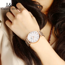 I&W Gold Quartz Watch Women Carnival Ladies Stainless Steel Ultra Thin Wristwatch Sapphire Crystal Clock 36mm reloj mujer 2018