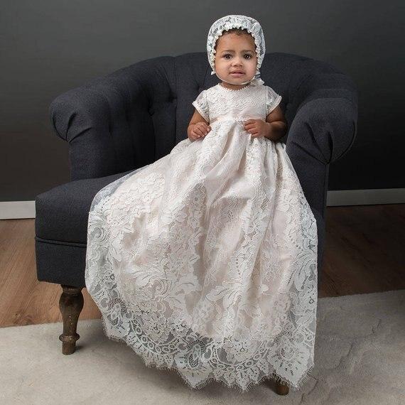 Фамильные Роскошные для маленьких девочек платье для крещения крестильное платье кружева короткий рукав малыш для мальчиков и девочек с дл