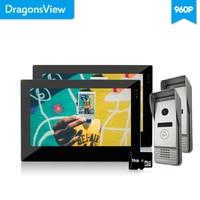 Dragonsview Video Door Phone 2 Monitors 2 Cameras Outdoor Door Panel Hands free IR Night Vision Touch Screen Video Record 2.3MM