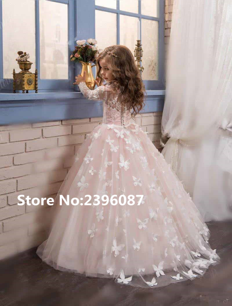New Pink Tulle Ball Gown Princess   Flower     Girl     Dresses   Lace Long Sleeve O-Neck First Communion   Dress   Vestidos de comunion 2019