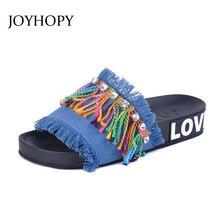 Joyhopy moda Denim zapatillas Sandalias planas verano mujeres zapatos  deslizamiento en señora franja zapatillas Jean playa a4a30ace7a0c