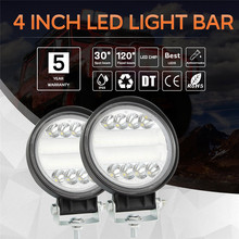2pcs Car styling 4'' 72w Round LED Light Pods Spot Flood Combo Work Light Waterproof For Pick Up Jeep SUV Car Accessories