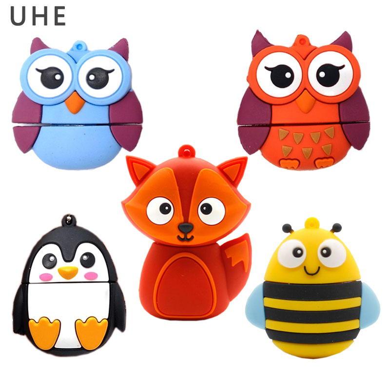 Cartoon Usb Flash Drive 4GB 8GB 16GB 32GB 64GB Cute Fox/owl/bee Penguin Memory Stick Pen Drive Lovely Gift Pendrive Flash Drive