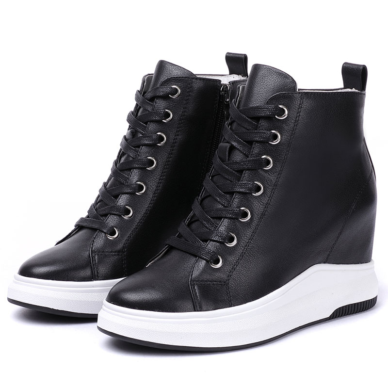 Women Wedged Sneakers 8cm Height Increasing Ankle Boots Genuine Leather Breathable High Platform Shoes Walking Sports Shoes