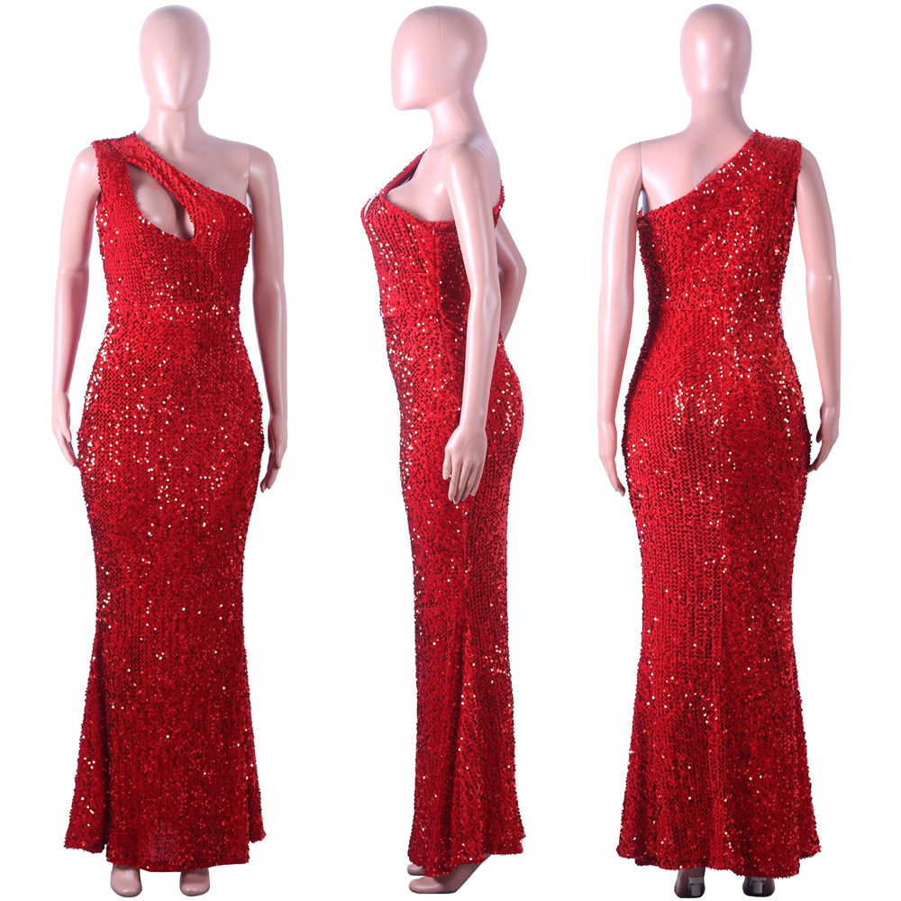 new red sequins mermaid dress elegant fashion sexy sleeveless dress bohemian style flannel sequin dress in Dresses from Women 39 s Clothing