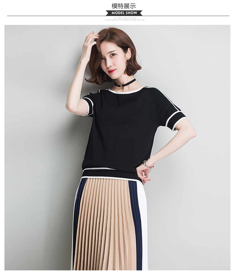 HSPL Summer Women Pullover White Tops Short Sleeve Casual New Arrival 19 Korea Lady Pull Femme Hiver Black Knitwear 8