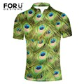 FORUDESIGNS High Quality Men Polo Shirts Peacock Pattern Short Sleeve Flower Print Polo Shirt Fashion Slim Men's Casual Polos