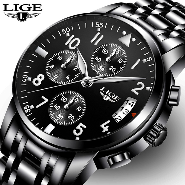 LIGE Fashion Quartz Mens Watches Top Brand Luxury Business Watch Men Casual Full Steel Waterproof Sport Watch Relogio Masculino lige mens watches top brand luxury man fashion business quartz watch men sport full steel waterproof clock erkek kol saati box
