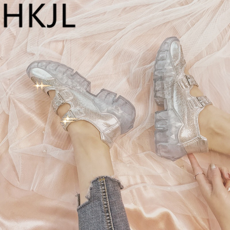 HKJL Shoe lady 2019 summer new thick-soled gladiator sandals with rhinestone baotou and crystal soles A225